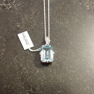 Sterling & aquamarine necklace